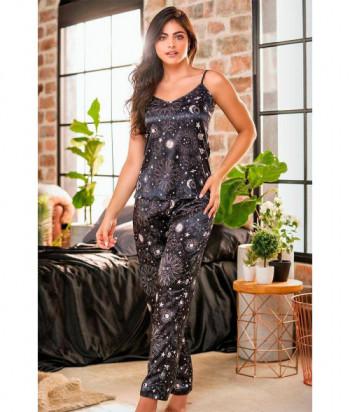 Pijama para Mujer Camiseta de Tiras Pantalón Estampado Satín