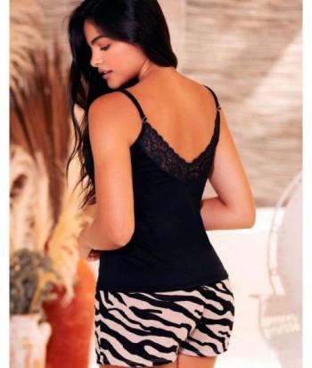 Pijama Mujer Tiras Short Largo Estilo Confort
