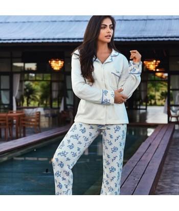 Pijama-clásico-estampada-pantalón-largo-manga-larga-tejido-AFELPADO-INTERNO-mujer-ropa-interior