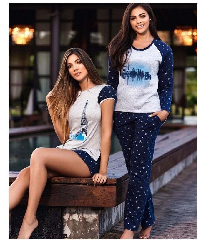 Pijama-pantalón-estampado-saco-manga-larga-tejido-especial-mujer-ropa-interior