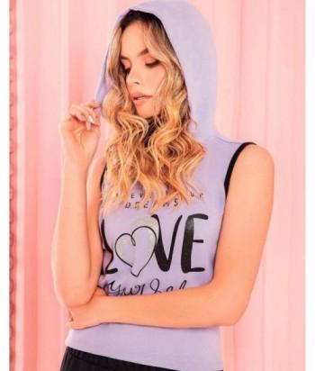 Pijama para Mujer Camiseta con capota y estampado Love Lila