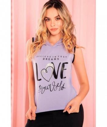 Pijama para Mujer Manga Sisa Pantalón Camiseta con capota y estampado Love