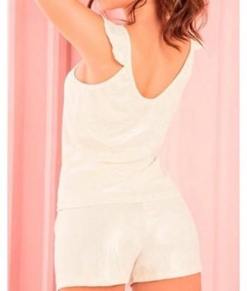 Pijama para Mujer Blusa de tiras con bolero y short brillante Rosado