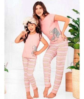 Pijama para Mujer Manga Corta Pantalón Estampado elefantes