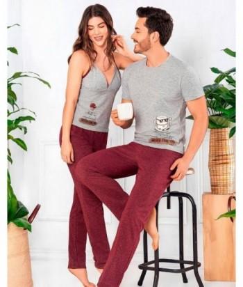 Pijama para Mujer Tiras Pantalón Pijama para pareja con estampado