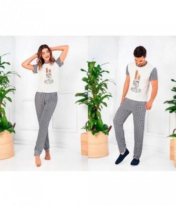 Pijama para Hombre Manga Corta Pantalón Pijama Familiar estampada