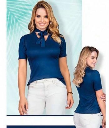 Blusa para Mujer Moño en escote Azul Oscuro