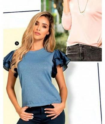 Blusa para Mujer Manga Corta Blusa Con Brillo y Boleros