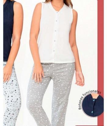 Pijama para Mujer Estampado de Estrellas con botones funcionales Vainilla