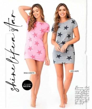 Pijama para Mujer Manga Corta Vestido Estampado de Estrellas