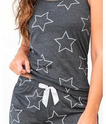 Pijama para Mujer Estampado de Estrellas Negro Cross