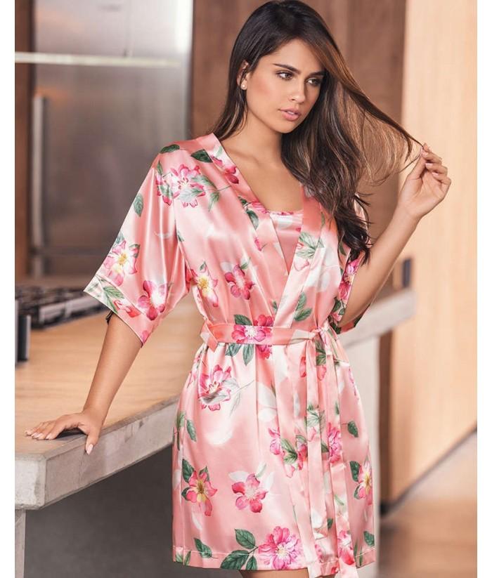 Pijama Satín Mujer Kimono Levantadora