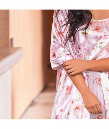 Pijama Satín para Mujer Kimono Levantadora Levantadora en satín Estampada