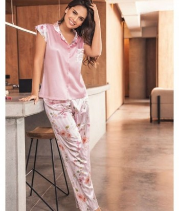 Pijama Satín Mujer Manga Corta Pantalón