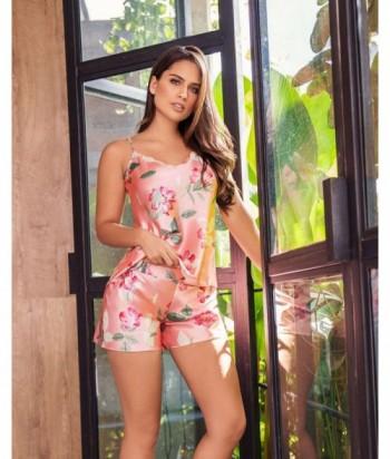 Pijama Satín Mujer Tiras Short