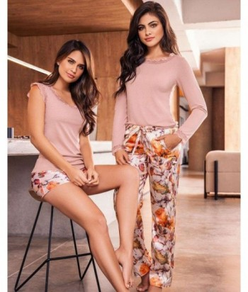 Pijama Satín para Mujer Short en Satín Estampado Varenna
