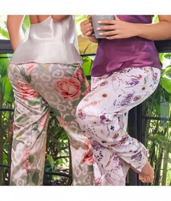 Pijama Satín para Mujer Tiras Pantalón Pijama en Satín Estampada