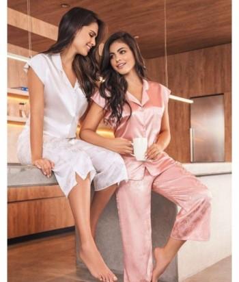 Pijama Satín para Mujer Pijama en Satín Ivory Palmas