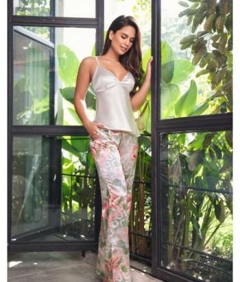 Pijama Satín Mujer Tiras Pantalón