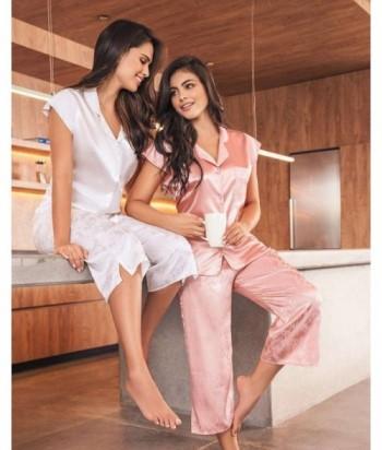 Pijama Satín para Mujer Pijama en Satín Nude Palmas