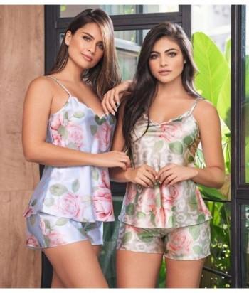 Pijama Satín para Mujer Tiras Short Pijama en Satín Estampada
