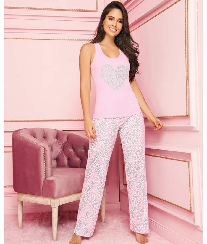 Piajama-pantalión-largo-comodo-blusa-sexy-estampada-leopardo'mujer-sensual-azul