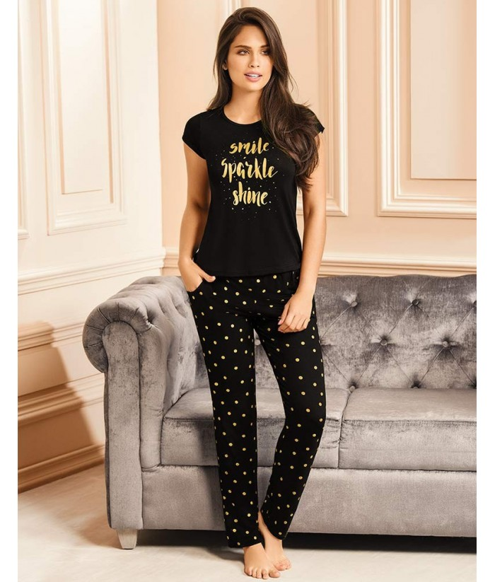 Piajama-pantalón-largo-camiseta-manga-corta-estampado-mujer-sensual-chica-sexy-negro-dorado-frente