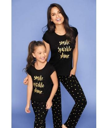 Pijama-niña-cute-camiseta-estampada-manga-corta-estampada-pantalón-largo-negro-dorado