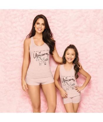 Pijama-niña-cute-blusa-estampada-short-unicornio-palo-de-rosa-rosado