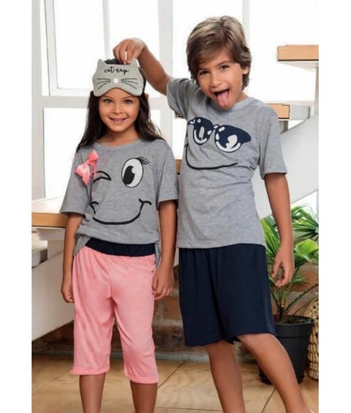 Pijama para Niño M. Corta-Bermuda  - Gris