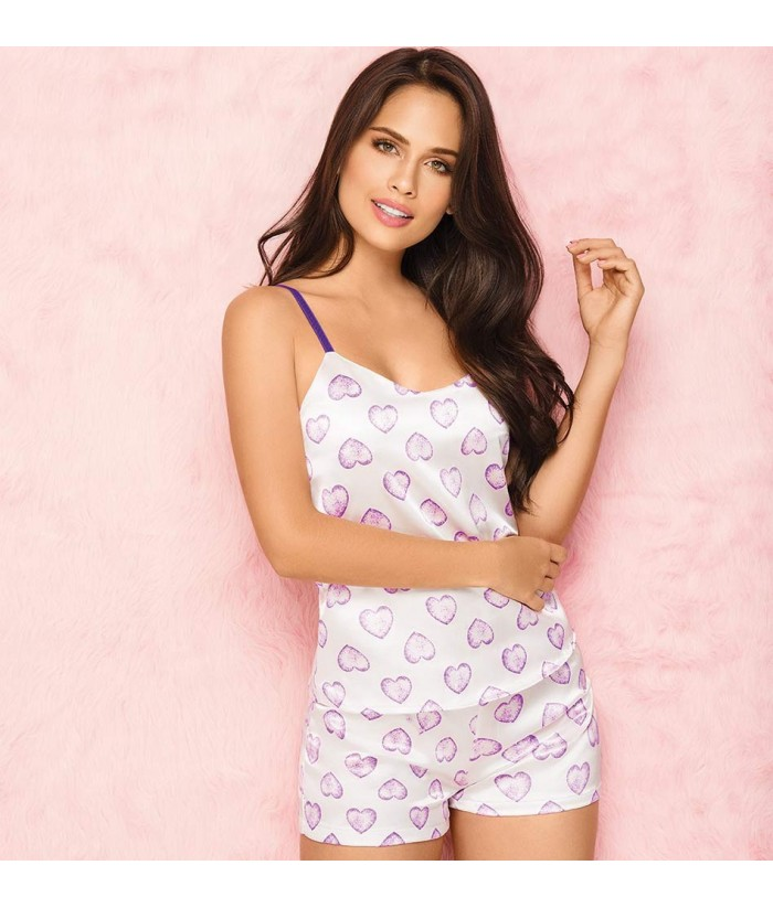 Pijama-blusa-satin-tiras-ajustables-detalle-escote-sexy-short-mujer-sensual-rosado-lila-cute-frente