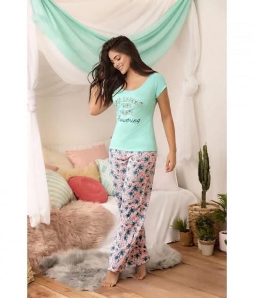 Pijama para Dama Blusa manga corta Pantalón Estampada