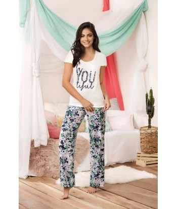 Pijama para Dama Blusa manga corta Pantalón Flores