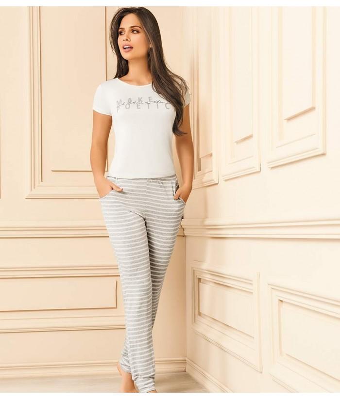 Pijama-camiseta-manga-corta-estampada-pantalón-bolsillos-casual-sexy-mujer-sensual-blanco-gris