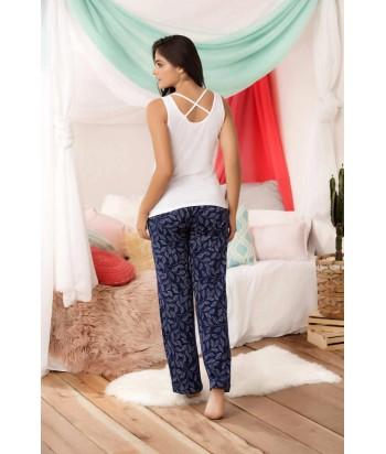 Pijama para Dama Blusa manga sisa Pantalón Estampada