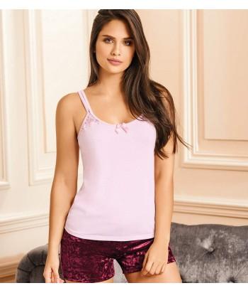 Pijama-blusa-tiras-detalle-encaje-sexy-short-mujer-sensual-rosado-vinotinto