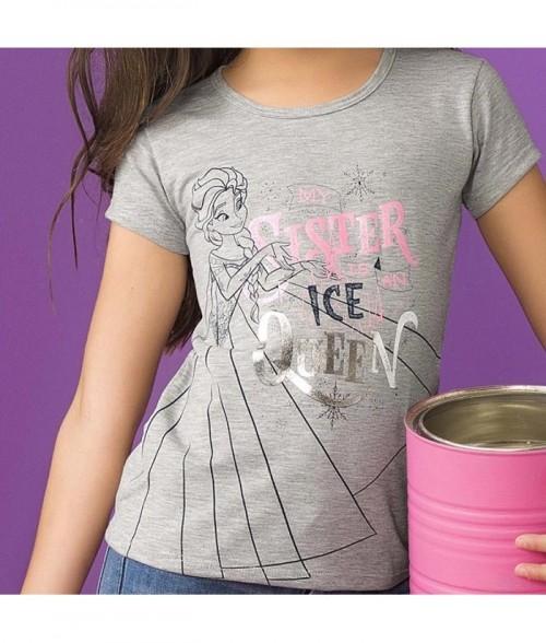Camiseta niña manga corta con estampado Frozen