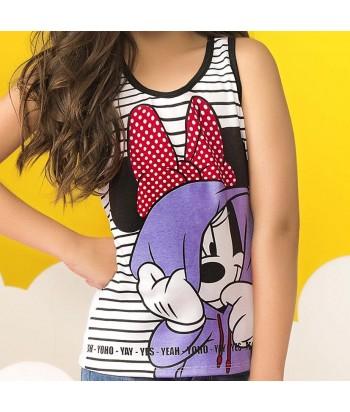 Camiseta niña manga corta con estampado Minnie