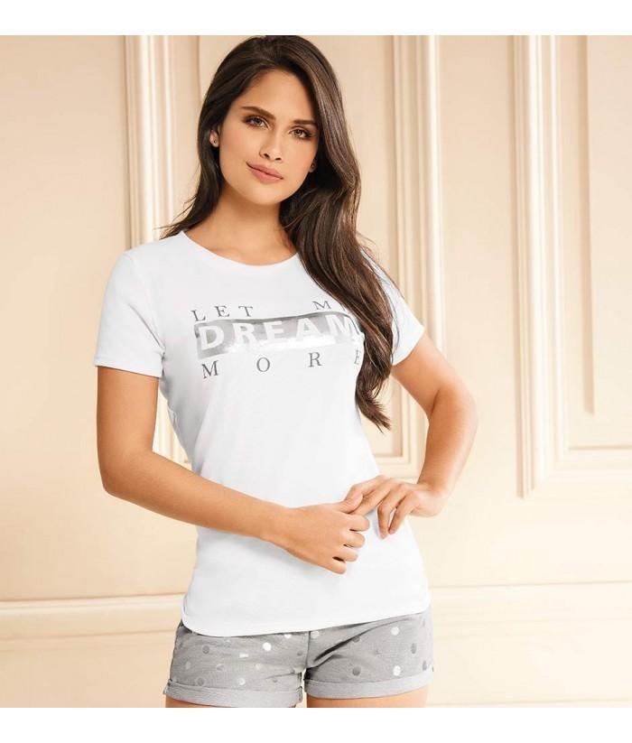 Pijama-camiseta-manga-corta-estampada-short-sexy-metalizado-blanco-gris-frente-mujer-sensual