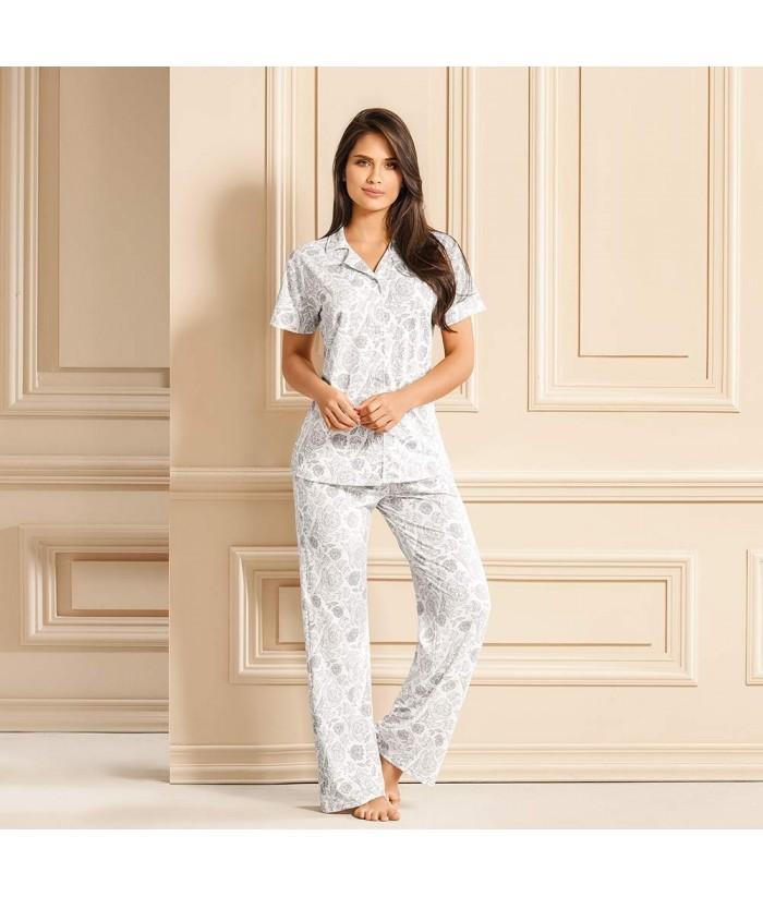Pijama-pantalón-largo-comodo-camisa-manga-corta-sexy-botones-gris-mujer-sensual