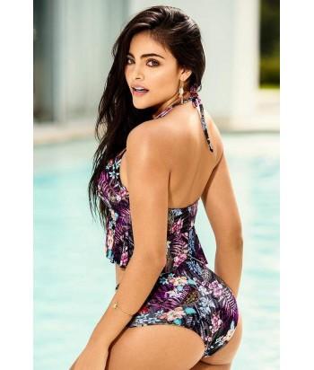 Vestido de Baño para Mujer Bikini Estampado Top estampado con bolero copa profunda y aro para mejor modelación