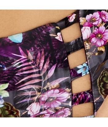 Bikini Top estampado con bolero copa profunda y aro para mejor modelación Panty clásico alto con diseño de tiras a los lados