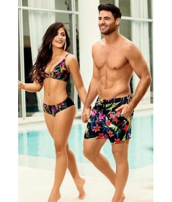 Bikini Top triángulo con copa argolla al frente ajuste y mayor cubrimiento en la espalda Panty clásico