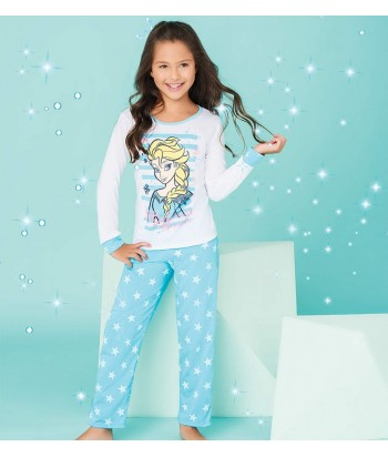 Pijama-blusa-manga-larga-pantalon-largo-niña-azul-ice-magic-princesa-disney-frozen-Elsa-niña-cute-estrellas