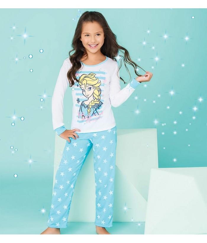ce9fb90d3 Pijama-blusa-manga-larga-pantalon-largo-niña-azul-