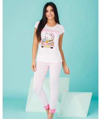 Pijama-blusa-estampada-HelloKitty-pantalon-rosado-blanco-cute-mujer
