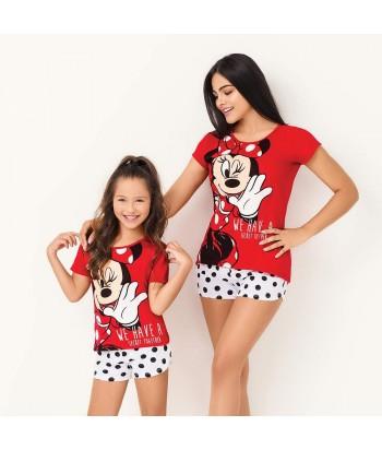 Pijama-bluza-manga-corta-roja-estampada-minnie-disney-short-sexy-blanco-mujer-sensual