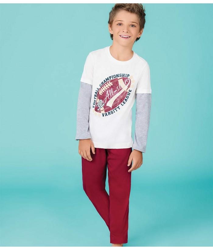 Piajama-camiseta-manga-larga-estampada-pantalon-largo-futbol-americano-deporte-vinotinto-gris-blanco