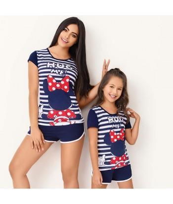 Pijama-blusa-manga-corta-estampada-minie-Disney-short-sexy-azul-mujer-sensual