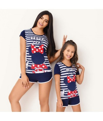 Pijama-blusa-manga-corta-estampada-minie-Disney-short-azul-niña